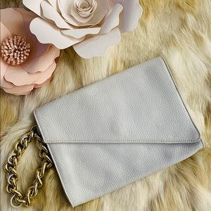 SAKS FIFTH AVENUE leather clutch white WRISTLET